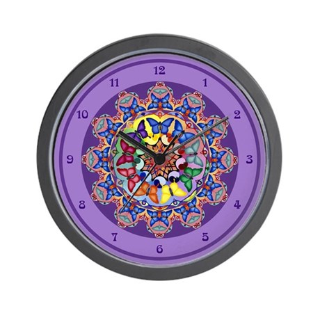 Purple Butterfly Mandala Wall Clock
