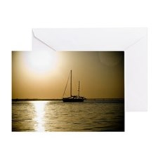 A small sail boat off the Florida co Greeting Card