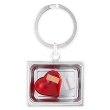 still life of red heart covered Landscape Keychain