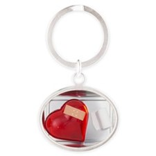 still life of red heart covered with Oval Keychain