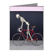 skeleton on a bike. Note Cards (Pk of 10)