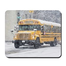 USA, New York City, school bus in blizzar Mousepad