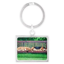 Dogs sleeping on bench Landscape Keychain