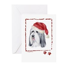 Happy Holidays Bearded Collie Greeting Cards