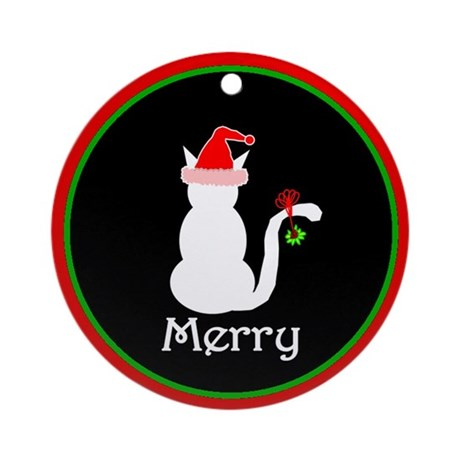 Merry Cat Christmas Ornament (Round)