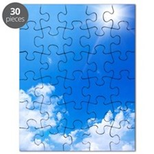 Blue Sky and Sun Over Solar Panels Puzzle