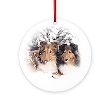 Snow Sheltie Ornament