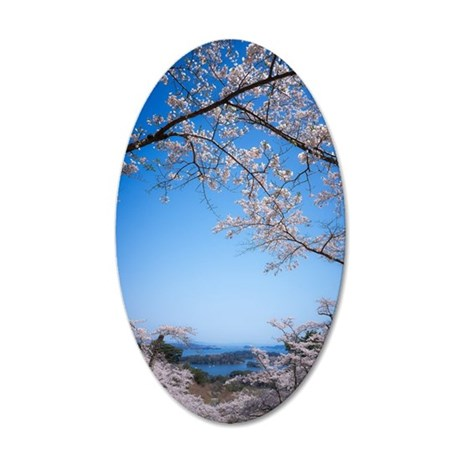 Cherry blossom tree in Saigy 35x21 Oval Wall Decal
