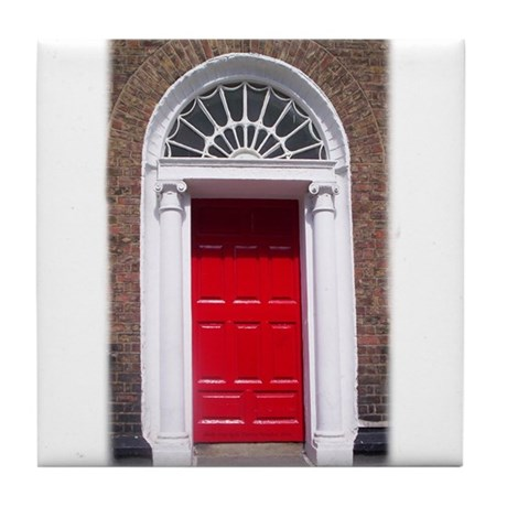 Red Dublin Door Tile Coaster
