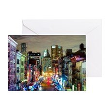 Urban rainbow city East Broadway at  Greeting Card