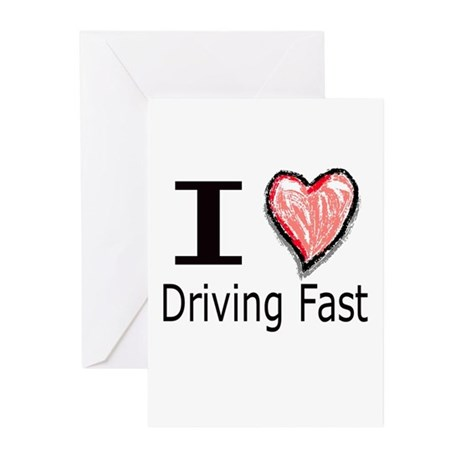 I Heart Driving Fast Greeting Cards (Pk of 10)