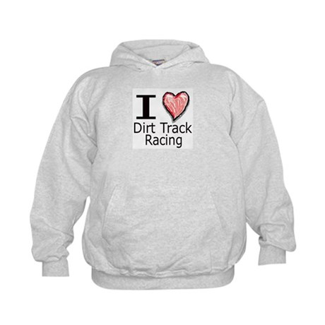 I Heart Dirt Track Racing Kids Hoodie