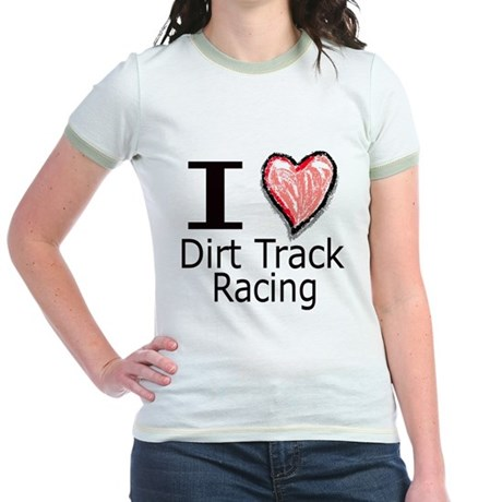 I Heart Dirt Track Racing Jr. Ringer T-Shirt