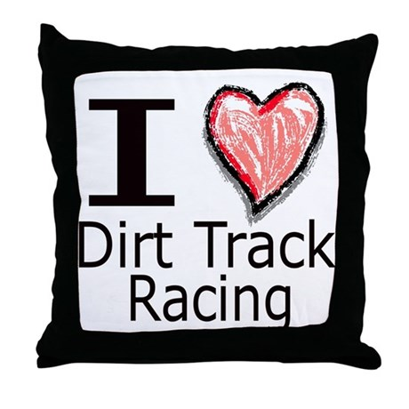 I Heart Dirt Track Racing Throw Pillow