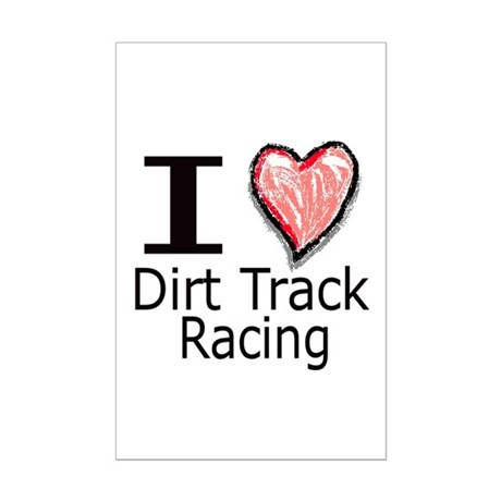 I Heart Dirt Track Racing Mini Poster Print