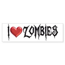 """I Love Zombies"" Bumper Bumper Sticker"