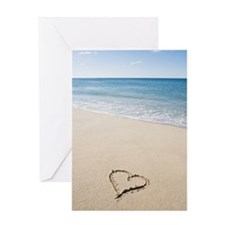 Heart shape drawn on beach Greeting Card