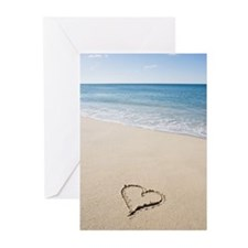 Heart shape drawn on bea Greeting Cards (Pk of 20)