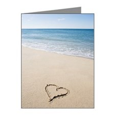 Heart shape drawn on beach Note Cards (Pk of 10)