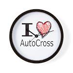 I Heart Auto Cross Wall Clock