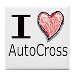 I Heart Auto Cross Tile Coaster
