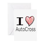 I Heart Auto Cross Greeting Cards (Pk of 10)