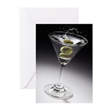 Green olive in Martini Greeting Cards (Pk of 10)