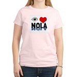Eye Love NOLA (brown) Women's Pink T-Shirt