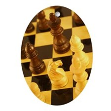 Chess pieces on chess board Ornament (Oval)