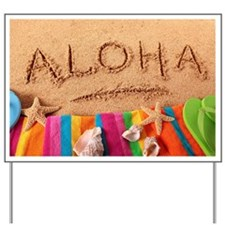 Aloha beach scene Yard Sign