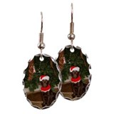Dog sitting by a Christmas tree Earring Oval Charm