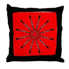 Clarinet Mandala Red, Red Throw Pillow