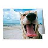 Happy dog yawning at beach. Note Cards (Pk of 20)