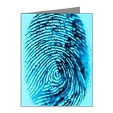 Fingerprint on blue backgrou Note Cards (Pk of 20)