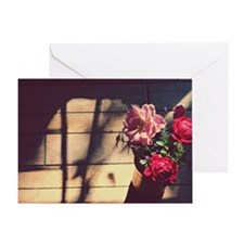 Garden bouquet of red and pink roses Greeting Card