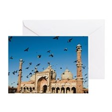 Facade of a mosque, Jama Masjid, New Greeting Card