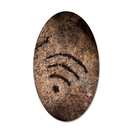 Wi-fi symbol on cave wall 35x21 Oval Wall Decal