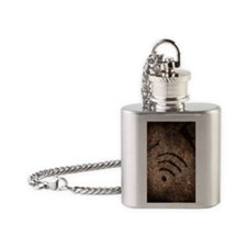 Wi-fi symbol on cave wall Flask Necklace
