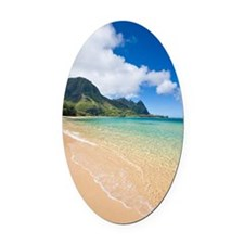 Kauai beach, Hawaii Oval Car Magnet