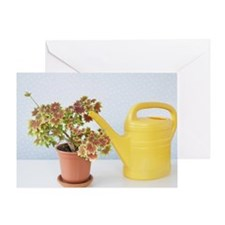 still life of potted plant and water Greeting Card