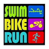 TRI Swim Bike Run Figures Tile Coaster