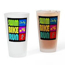 TRI Swim Bike Run Figures Drinking Glass
