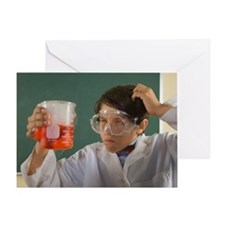 Boy wearing lab coat and goggles and Greeting Card