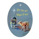Border Collie Puppy with Lamb Oval Ornament