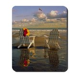 Adirondack chairs on Kennebunk Beach, Mai Mousepad