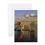 Adirondack chairs on Kennebunk Beach Greeting Card