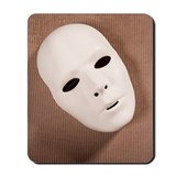 A white theater mask Mousepad