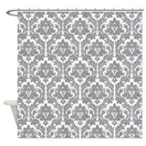 Pebble Grey Damask Shower Curtain