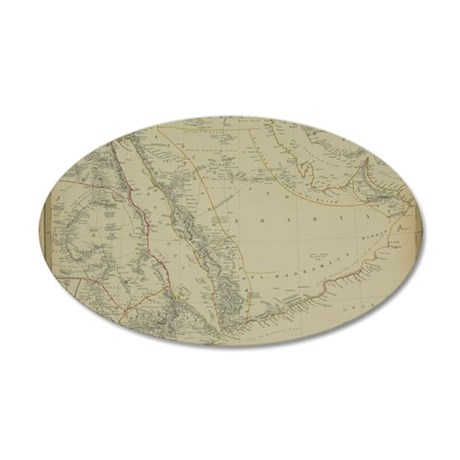 Antique map of Arabia with E 35x21 Oval Wall Decal
