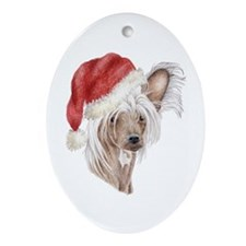 Christmas Chinese Crested dog Oval Ornament